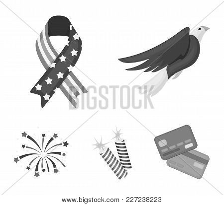 American Eagle, Ribbon, Salute. The Patriot's Day Set Collection Icons In Monochrome Style Vector Sy