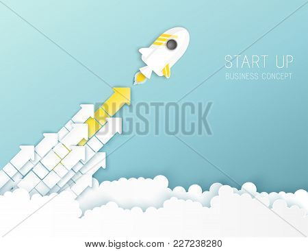 Paper Art Of Space Shuttle Launch To The Sky. Blue Sky, Fluffy Clouds, Arrows.  Rocket Launch. Start