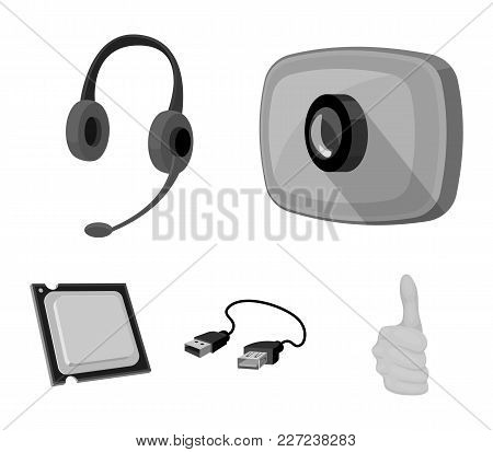 Webcam, Headphones, Usb Cable, Processor. Personal Computer Set Collection Icons In Monochrome Style