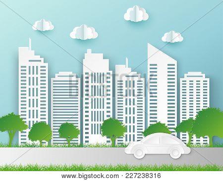 Paper Skyscrapers. Achitectural Building. Modern City Skyline Building Industrial Paper Art Landscap