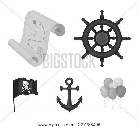Pirate, Bandit, Rudder, Flag .pirates Set Collection Icons In Monochrome Style Vector Symbol Stock I