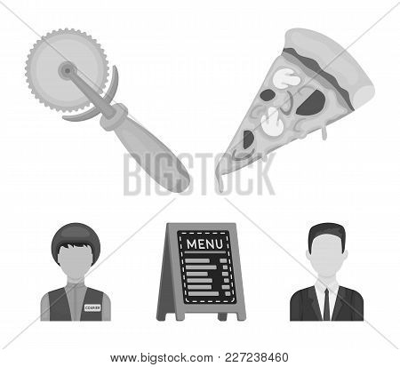 A Pizza Cutter, A Slice, A Menu In A Pizzeria, A Courier. Pizza And Pizzeria Set Collection Icons In