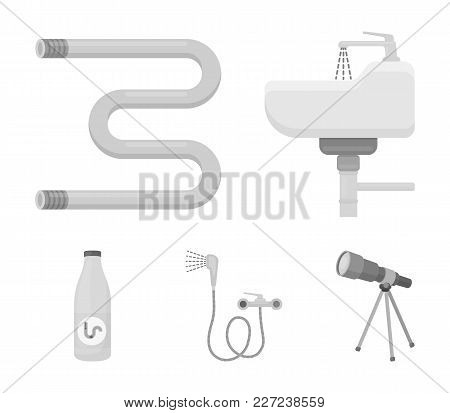 Washbasin, Heated Towel-dryer, Mixer, Showers And Other Equipment.plumbing Set Collection Icons In M