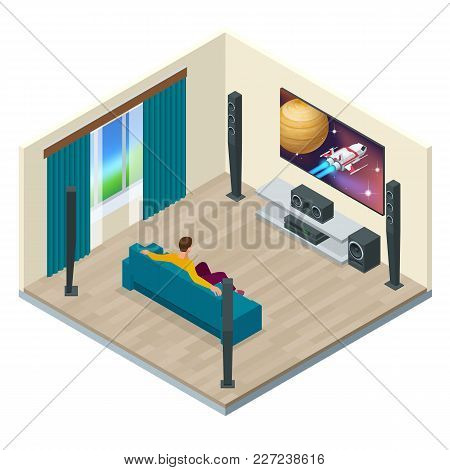Living Room Interior With Modern Home Theater System. Digitally Created And High Resolution Rendered