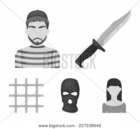 Knife, Prisoner, Mask On Face, Steel Grille. Prison Set Collection Icons In Monochrome Style Vector
