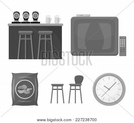 Tv, Bar Counter, Chairs And Armchairs, Potato Chips. Pub Set Collection Icons In Monochrome Style Ve