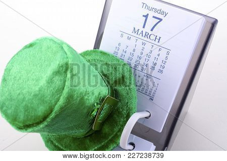 St Patrick's Day Calendar For March 17 With Green Leprechaun Hat