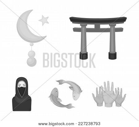 Torii, Carp Koi, Woman In Hijab, Star And Crescent. Religion Set Collection Icons In Monochrome Styl