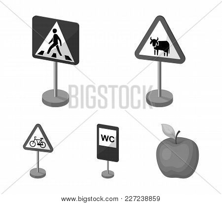 Different Types Of Road Signs Monochrome Icons In Set Collection For Design. Warning And Prohibition