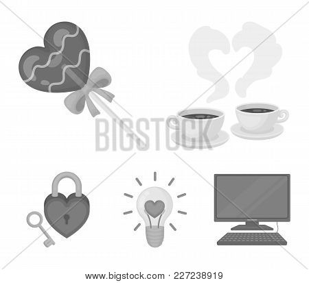 Cups With Coffee, Valentine, Lamp, Lock With Key. Romantic Set Collection Icons In Monochrome Style