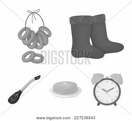 Felt, Boots, Drying, Gingerbread .russia Country Set Collection Icons In Monochrome Style Vector Sym