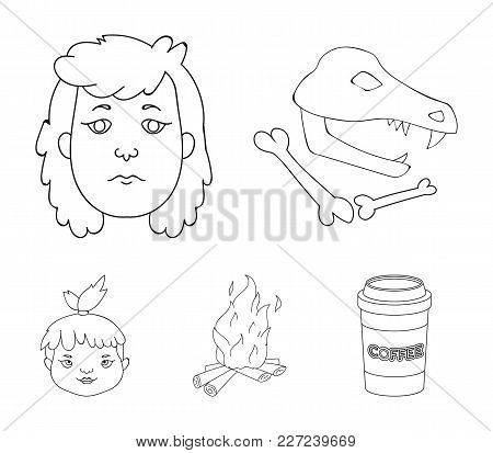 Woman, Hair, Face, Bonfire .stone Age Set Collection Icons In Outline Style Vector Symbol Stock Illu
