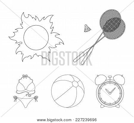 A Game Of Badminton, A Ball And The Sun.summer Vacation Set Collection Icons In Outline Style Vector