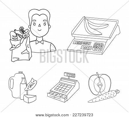 Package, Scales, Banana, Fruit .supermarket Set Collection Icons In Outline Style Vector Symbol Stoc