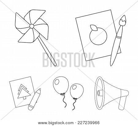 Pictures, A Windmill, Balloons. Tigers Set Collection Icons In Outline Style Vector Symbol Stock Ill