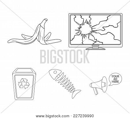 Broken Tv Monitor, Banana Peel, Fish Skeleton, Garbage Bin. Garbage And Trash Set Collection Icons I
