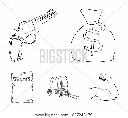 Bag With Money, Colt, Van, Is Being Searched For. Wild West Set Collection Icons In Outline Style Ve