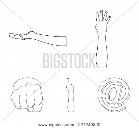 Sign Language Outline Icons In Set Collection For Design.emotional Part Of Communication Vector Symb