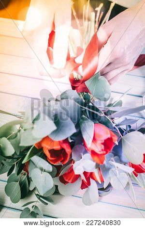 Red Tulip In Brides Flower Bouquet Fow Wedding Made By Florist