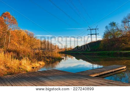 An Old Boat Dock On The Ohio And Erie Canal Near Cleveland In Late Autumn