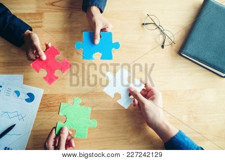 Teamwork Meeting Business  Jigsaw Puzzle Solution Together Concept