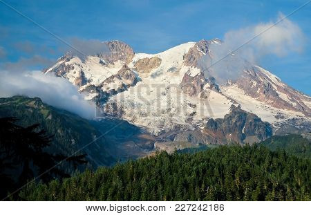 The Puyallup And Tahoma Glaciers Flow Down The West Face Of Mt Rainier. Washington