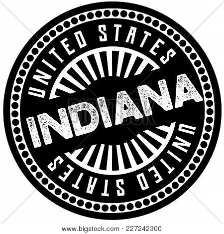 Indiana Typographic Stamp. Typographic Sign, Badge Or Logo