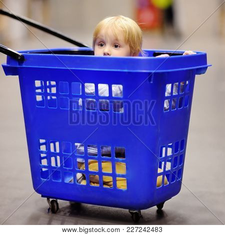 Cute Little Boy Sitting/hiding In The Plastic Shopping Cart In A Modern Home Furniture Store. Family