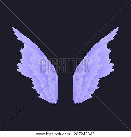 Vector Wings. Angel Wings. Wings Of A Bird. Gradient. Dark Background