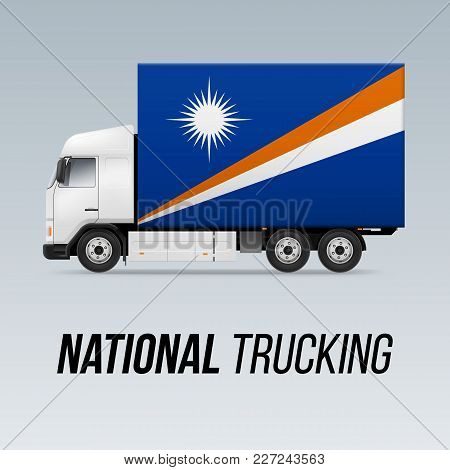 Symbol Of National Delivery Truck With Flag Of Marshall Islands. National Trucking Icon And Flag Des