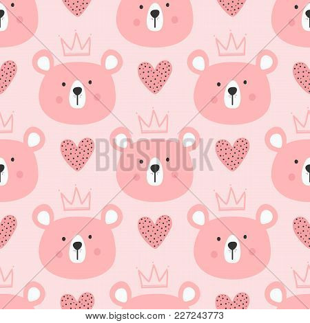 Cute Seamless Pattern For Children. Repeated Heads Of Bears With Crowns And Hearts. Drawn By Hand. E