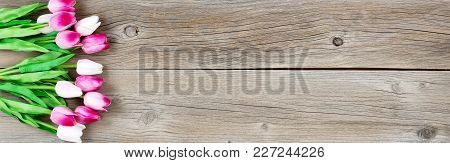 Pink Tulip Flowers On Left Side Of Weathered Wooden Boards