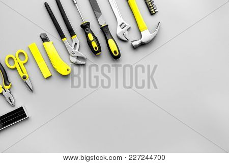 Repair Tools. File, Hummer On Grey Background Top View.