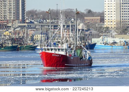 New Bedford, Massachusetts, Usa - January 10, 2018: Commercial Fishing Vessel Moragh K Crossing Icy
