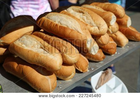 Fresh Baked French Bread at an outdoor market