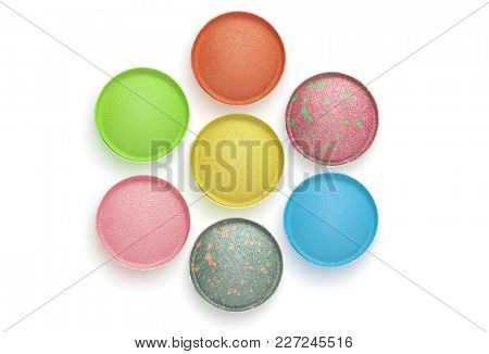 Circle color Eye shadows on white background. Collection.