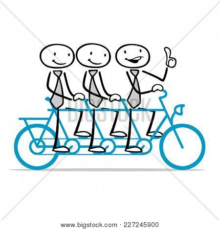 Cartoon business team riding together on a tandem