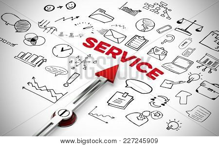 Red arrow points to the word Service with Business Icons (3D Rendering)
