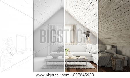 CAD planning of living room in the attic from line drawing to 3D rendering (3D Rendering)