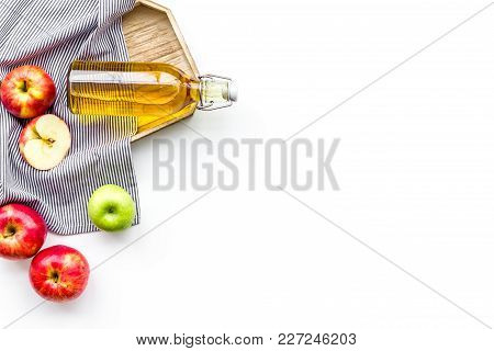 Homemade Cider From Ripe Apples. White Background Top View.