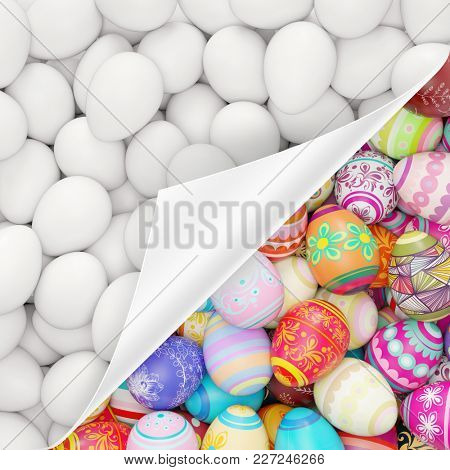 Many colorful easter eggs hide under white eggs for easter (3D Rendering)
