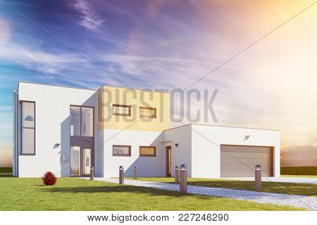 Modern cube house with garage and garden in front of a blue sky (3D Rendering)