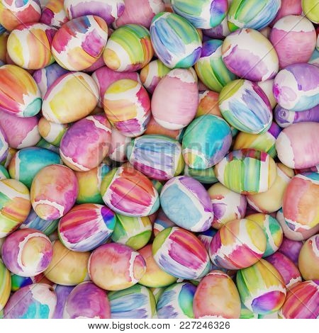 Many colorful easter eggs with watercolor as easter background (3D Rendering)