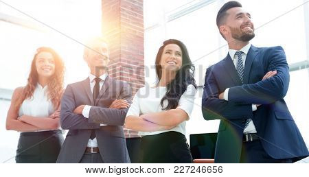 successful business team looking at copy space