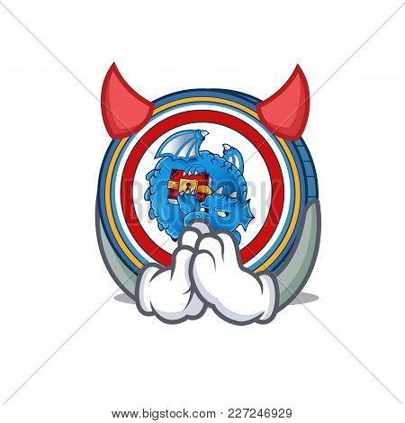 Devil Dragonchain Coin Mascot Cartoon Vector Illustration