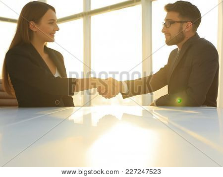 Friendly smiling business people  handshaking after pleasant tal