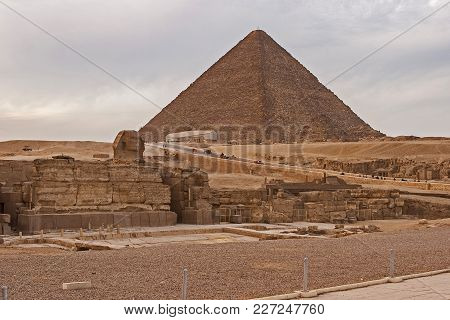 Pyramid Of Cheops Giza, Sphinx, Sahara Desert