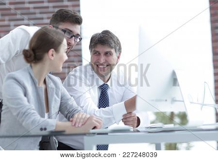 Friendly business team in the office