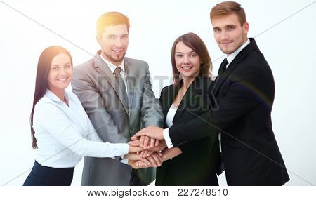 successful business team with folded his hands together