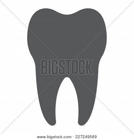 Tooth Glyph Icon, Stomatology And Dental, Healthy Dent Sign Vector Graphics, A Solid Pattern On A Wh
